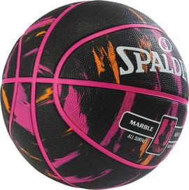 BALON SPALDING NBA MARBLE 4HER OUT, T/6 NEGRO/ROSA